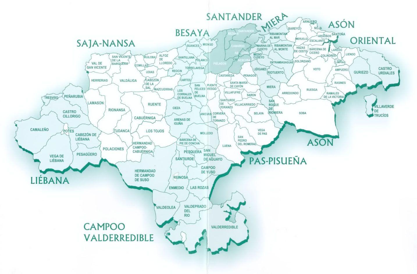 Mapa Politico De Cantabria Mapas Mapa De Espana Mapa Politico