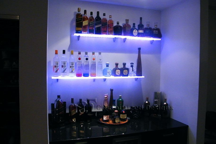 Led Lighted Shelves Back Bar Shelving For Home Bars