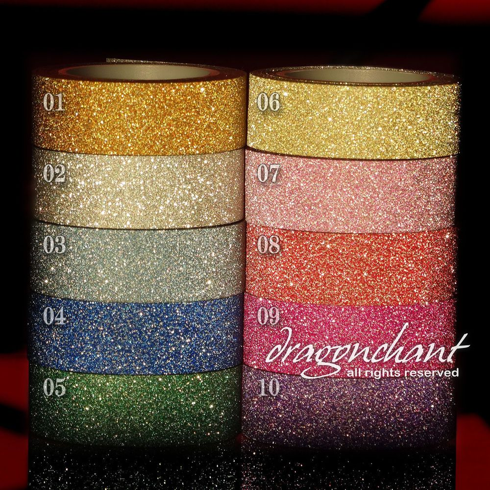 PAPER Glitter Washi Tape Masking Adhesive Roll Decorative Card Craft Easy Tear