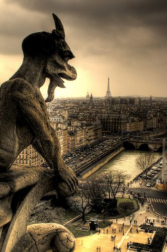 A view of the Seine and the Eiffel Tower with a Gargoyle of Notre Dame Cathedral, Paris.