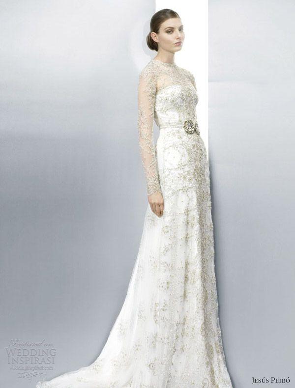 Jesus Peiro Wedding Dresses 2013 Illusion Long Sleeve Lace Sheath