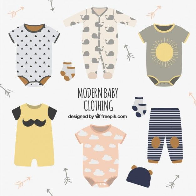 dbe0d9192 Modern baby clothing Premium Vector