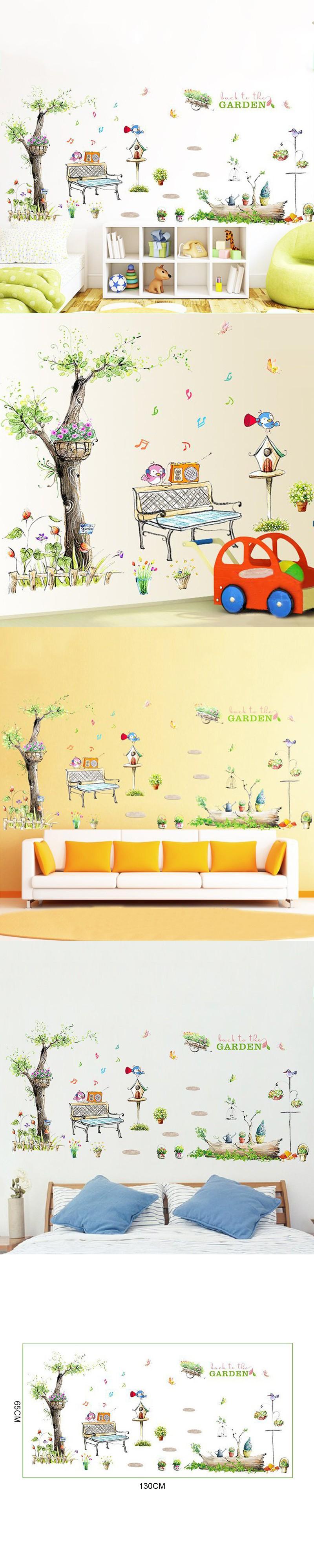 70X50cm Cartoon music bird wall sticker Garden Tree Flower Mailbox ...