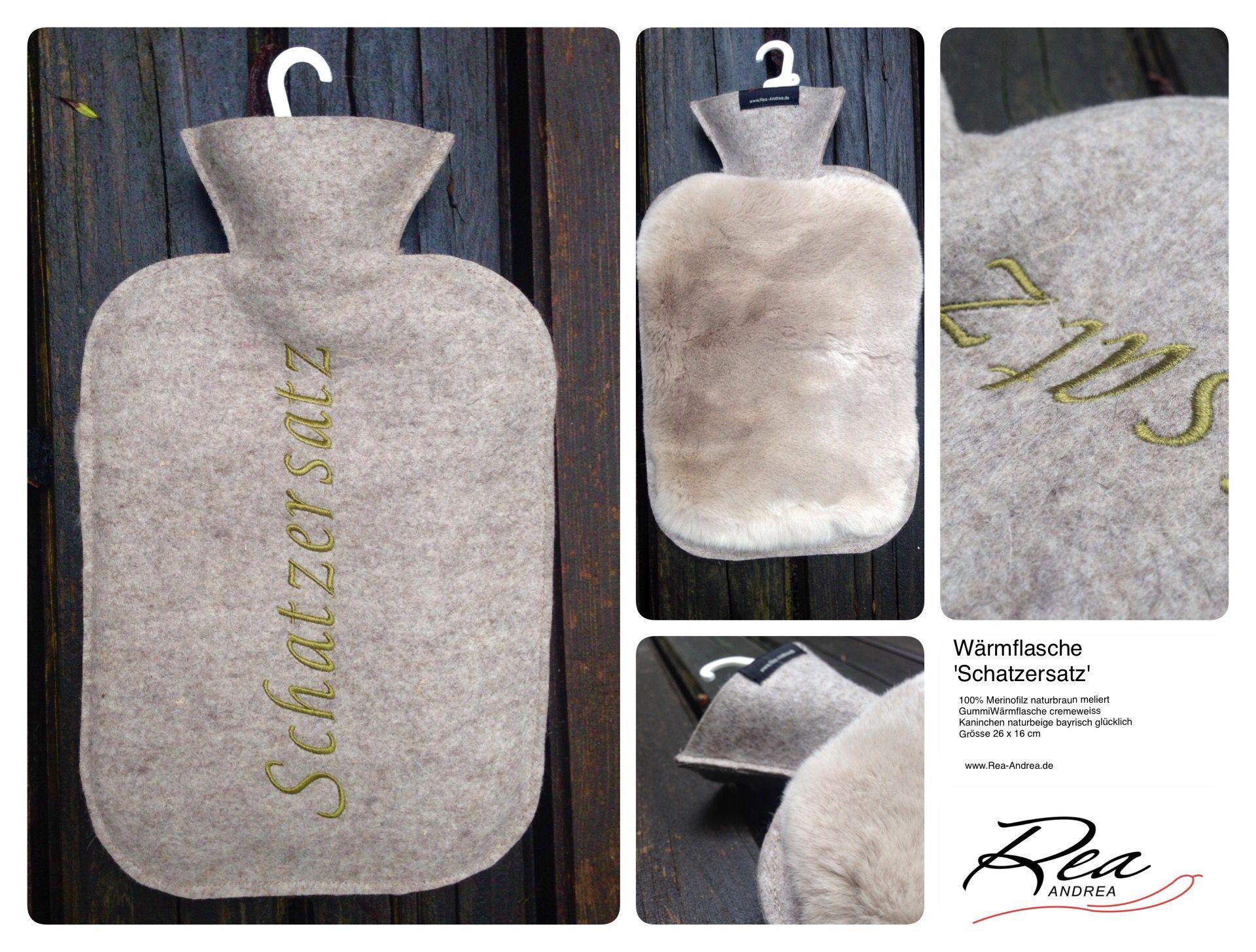 Bettgeflüster 'Schatzersatz' --   100% Merinofilz naturbraun meliert - GummiWärmflasche cremeweiss -Kaninchen naturbeige bayrisch -glücklich Grösse 26 x 16 cm