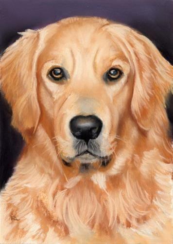 Daily Paintworks Golden Retriever Pet Portrait Sold Original