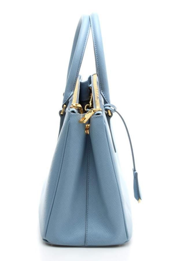 Prada Light Blue Saffiano Leather Lux Double-Zip Tote Bag NEW  1400.0 bc5362f2f0353