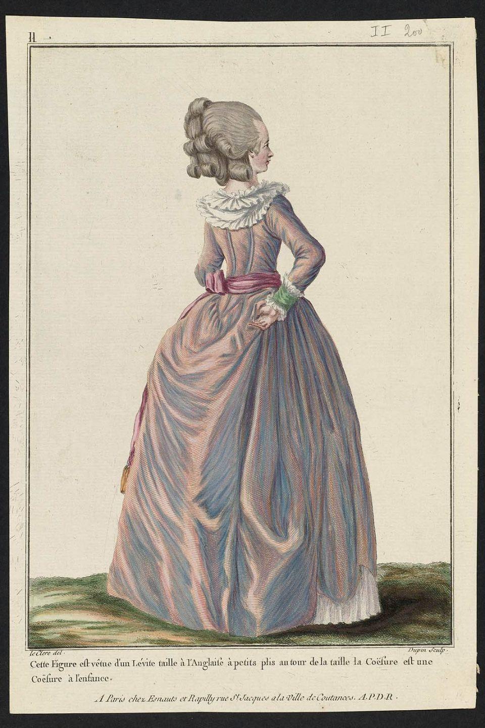 1781 Cette Figure Est Vetue D Un Levite Taille A L Anglaise A Petits Plis Au Tour De La Taille La Coefure Est Une Coe Costume Francais Gravures De Mode Costume