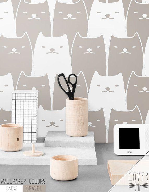 Removable Self Adhesive Cat Pattern Vinyl Wallpaper Cm011 Removable Wallpaper Nursery Nursery Wallpaper Unique Wallpaper