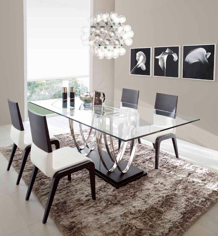 Mesa de cristal con pie de acero villalba interiorismo for Comedores minimalistas de cristal