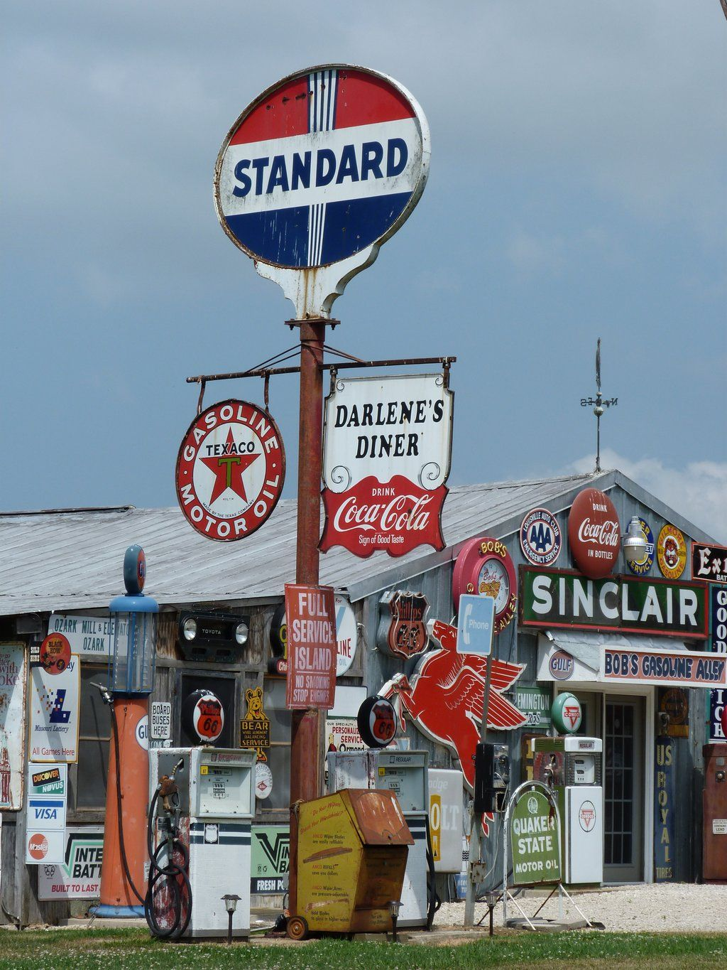 Old Gas Station Sign Post