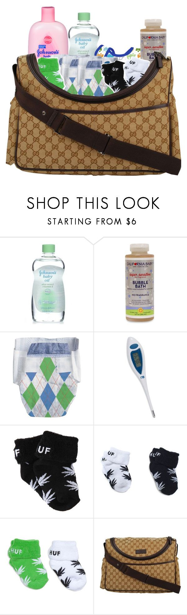"""""""Baby Diaper bag"""" by ashfordkeyonna ❤ liked on Polyvore featuring Alöe, Equipment, HUF and Gucci"""