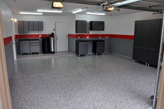 Simple red and grey paint garage walls with black cabinets garage pinterest painted garage - Simple garage storage cabinets in cool structured design ...
