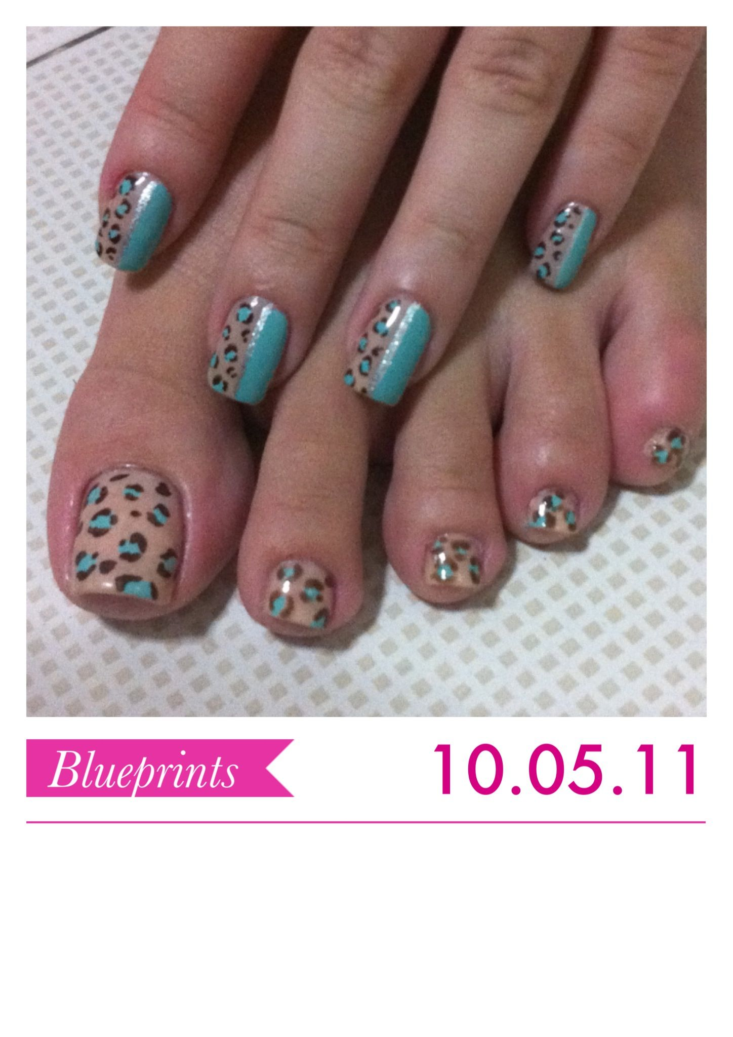 turquoise and nude animal print nail art design @Aryn Sternweis this ...