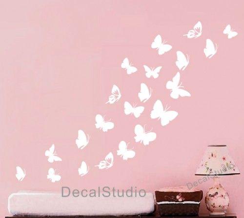 Butterfly Set Home Vinyl Decal Bedroom Girl Nursery White Wall