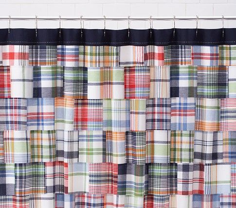 Madras Shower Curtain Pottery Barn Kids Plaid Shower