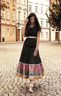 A pretty anarkali-type dress with Indian border.