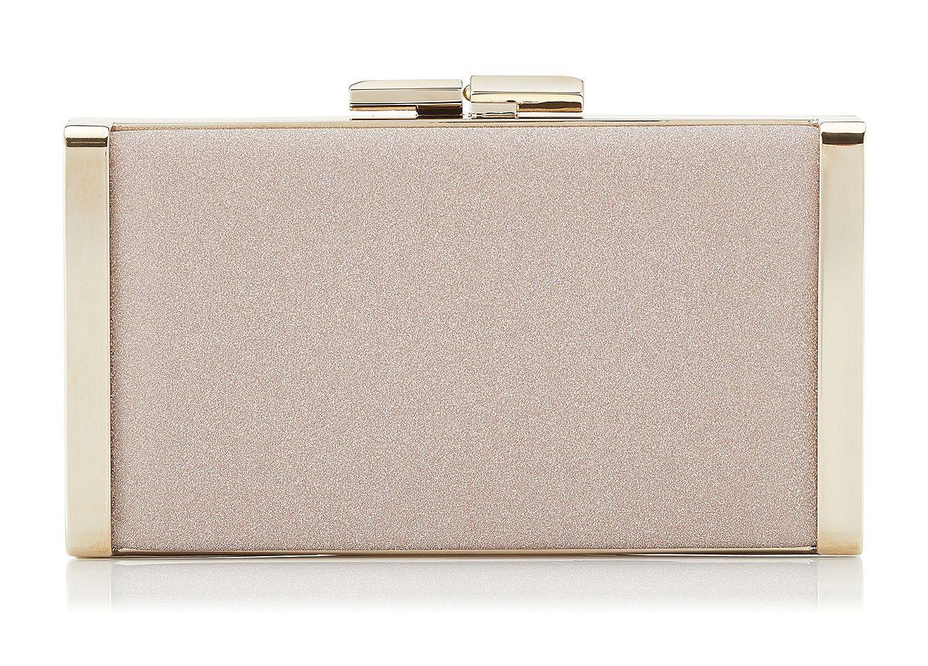 6fb67672b2 Jimmy Choo JBox Ballet Pink Fine Glitter Fabric Clutch Bag
