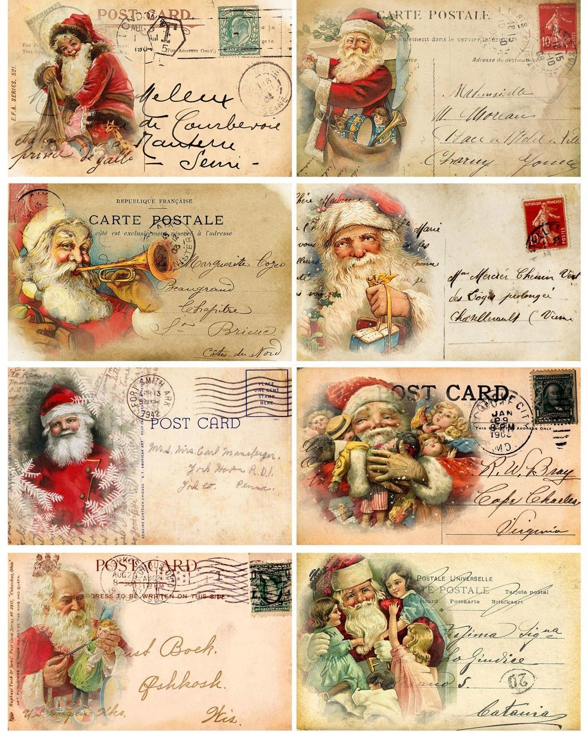 Christmas Vintage Santa Pictures On Cards Scrap Booking