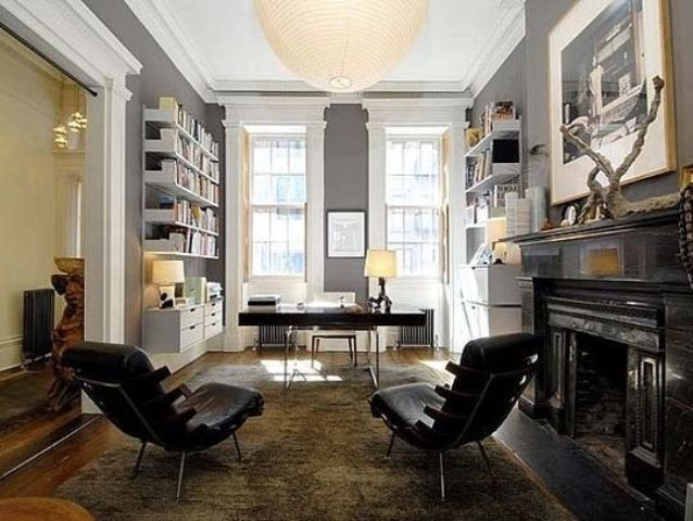 33 Stylish And Dramatic Masculine Home Office Design Ideas Digsdigs Room Color Moore House Brownstone Interiors Home Study Design