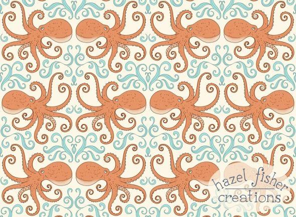 Cephalopod Octopus Spoonflower design hazelfishercreations. surface pattern design