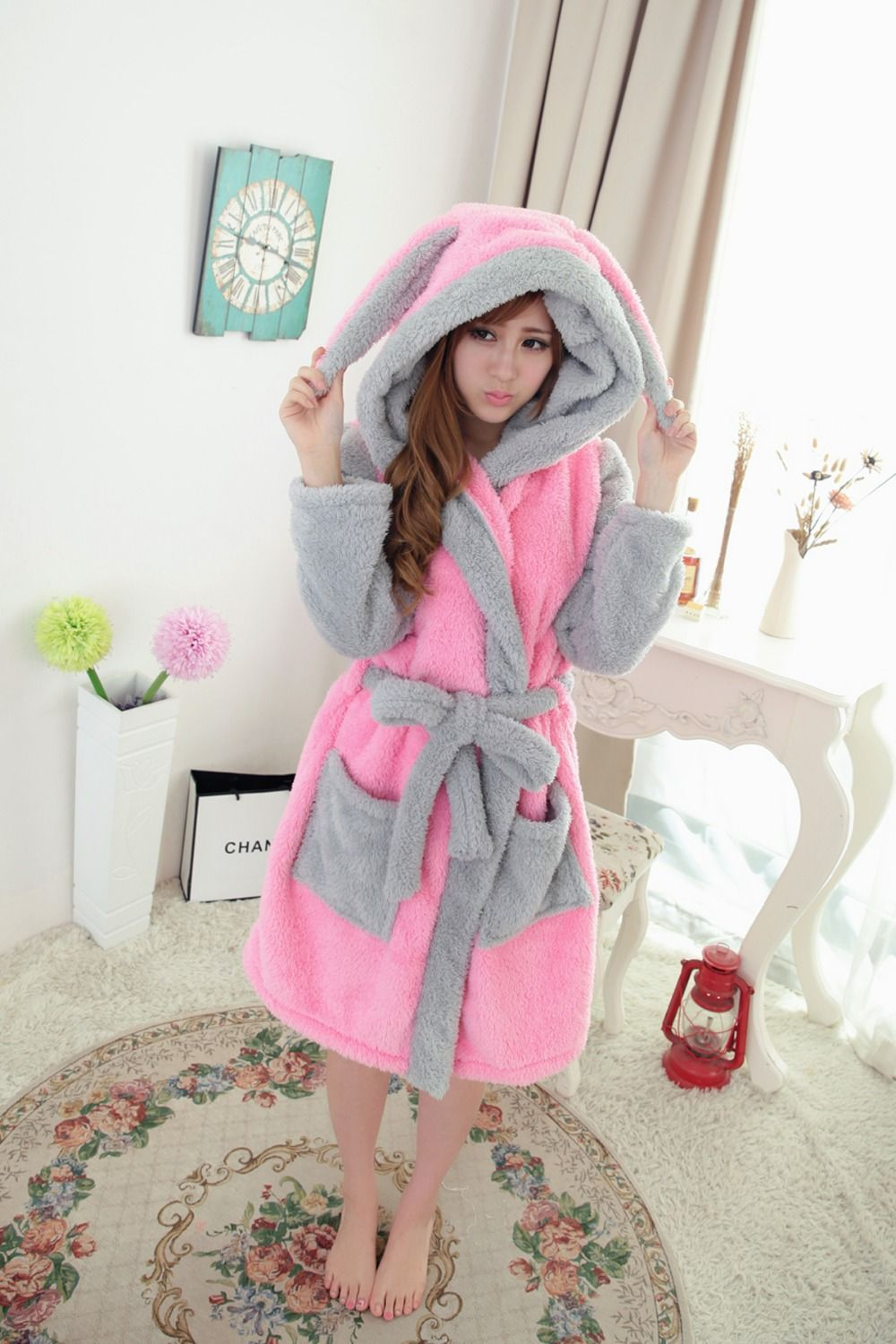 New plush robe 2015 Adult Animal Pink Rabbit Pajamas long sleeve lovely  Sleepwear bath robes dressing gowns for women bathrobe 027611d75