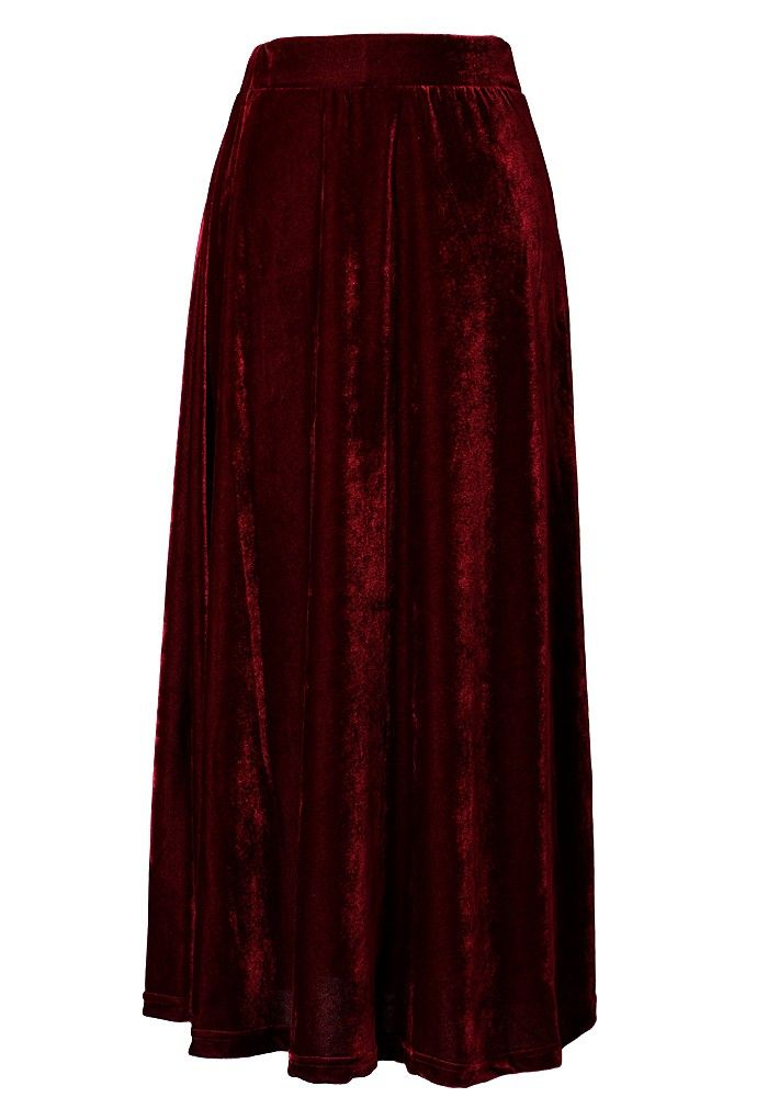 89ad4dd893e6b Velvet Pleated Maxi Skirt in Wine Red  chicwish