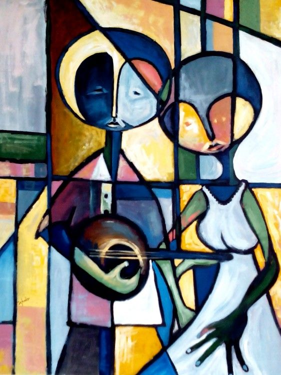 FROM THE BOTTOM OF MY HEART (Painting),  60x105 cm par OGHALE THOMAS AGBOGE A LOVE STORY OF A YOUNG MAN PLAYING BANJO TO THE ADMIRATION OF HIS BEAUTIFUL GIRL.