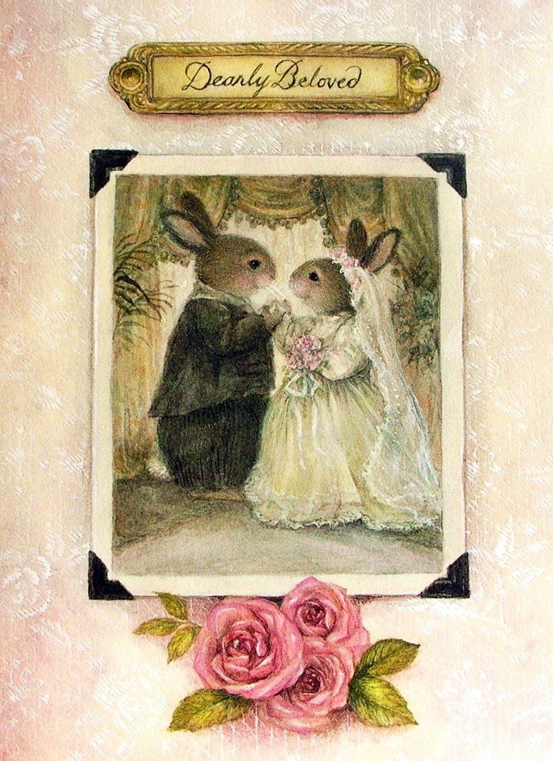 открытка свадьба зайцы