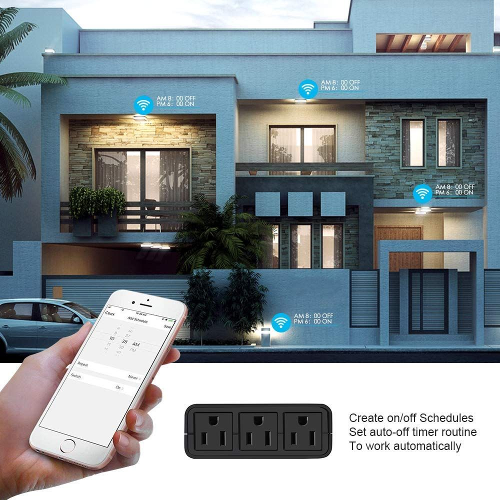Outdoor Smart Outlet Plug WiFi Smart Socket with 3
