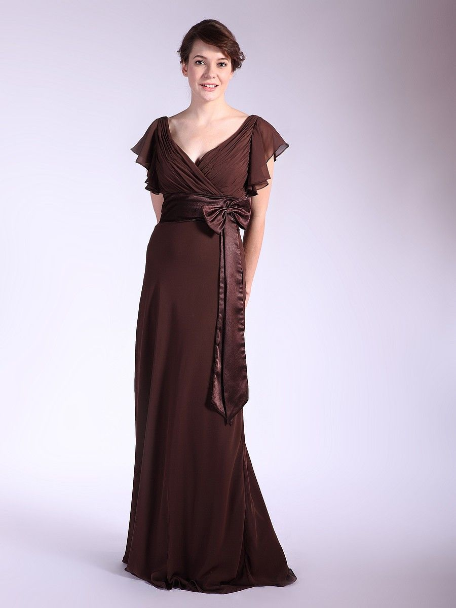 Ruffled cap sleeve chiffon evening dress wedding favors