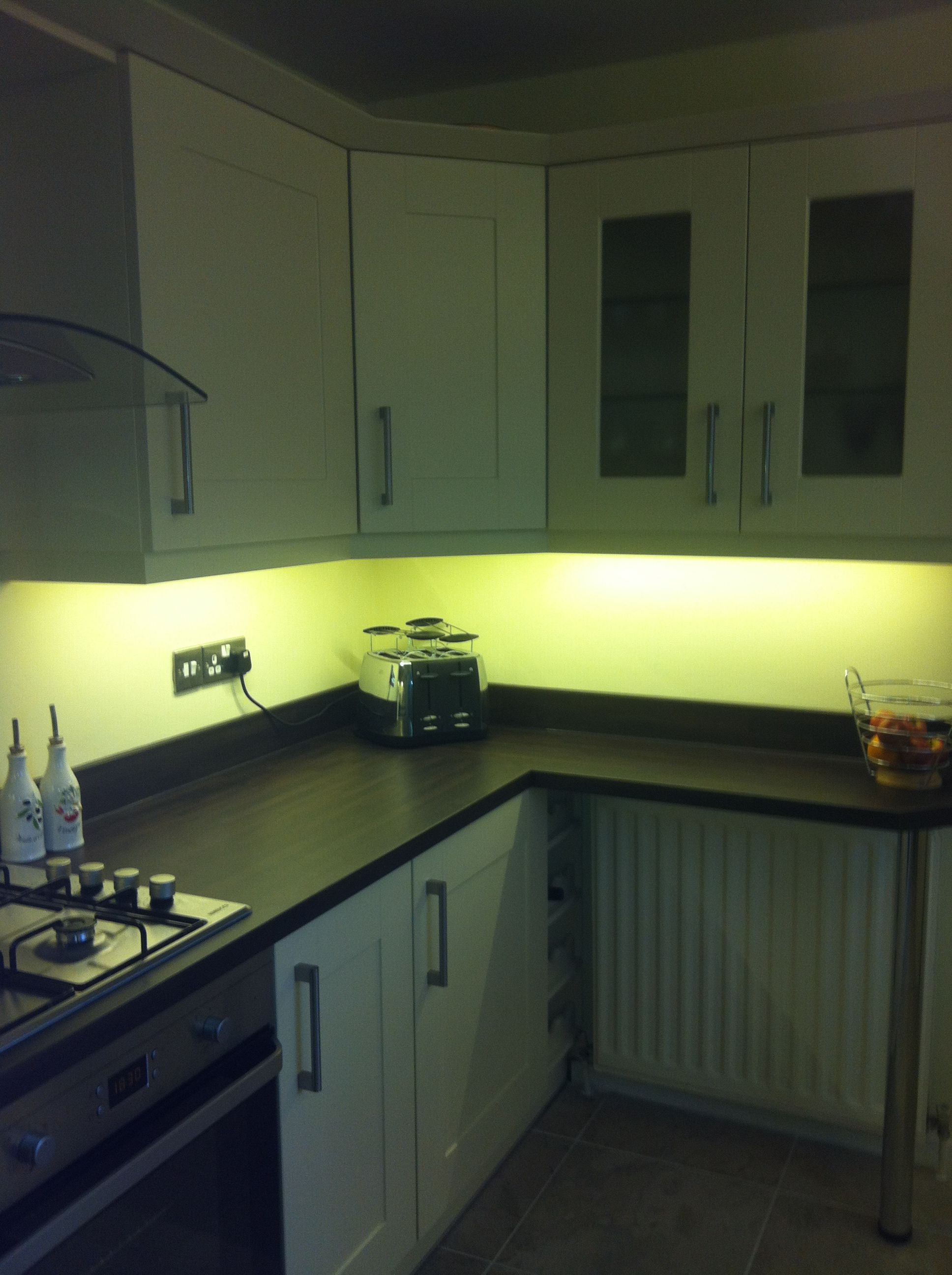 LED strip lights for under cupboard kitchen lights in warm white
