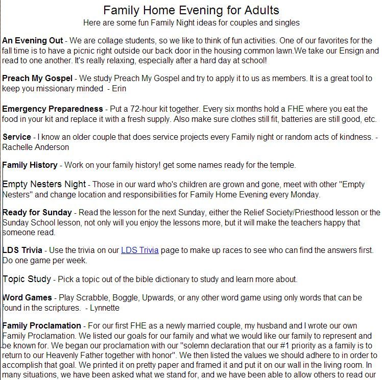 www ldssplash com family home evening for adults here are some fun