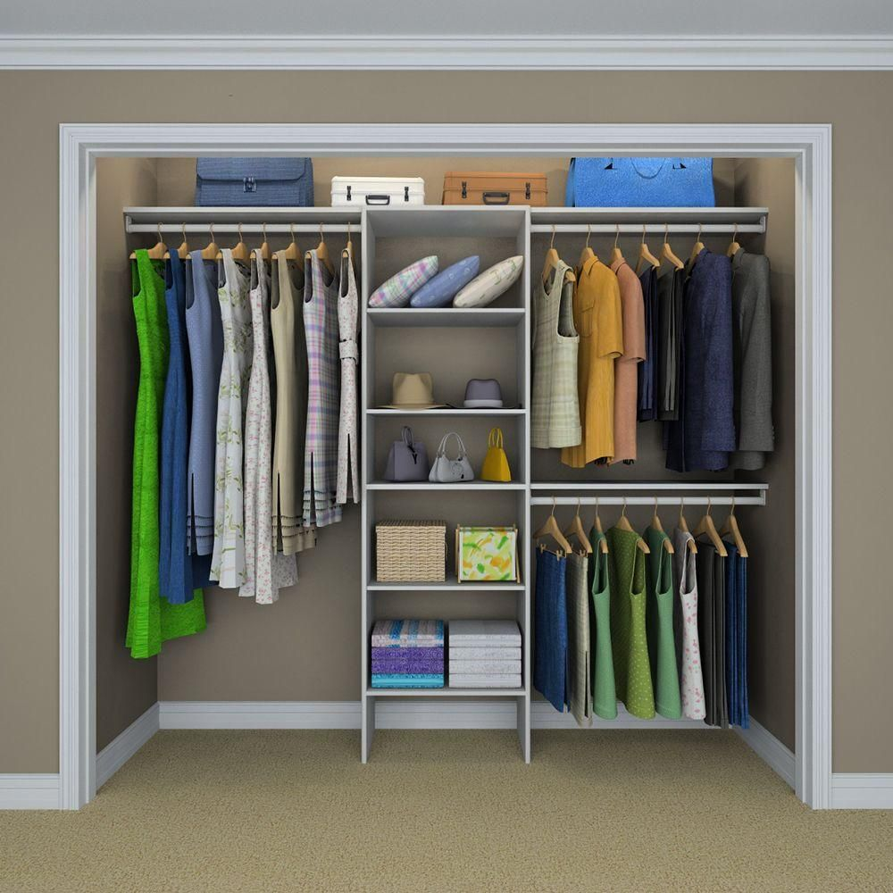 Closetmaid Selectives 83 In H X 120 In W X 14 5 In D Basic Closet System In White Closet