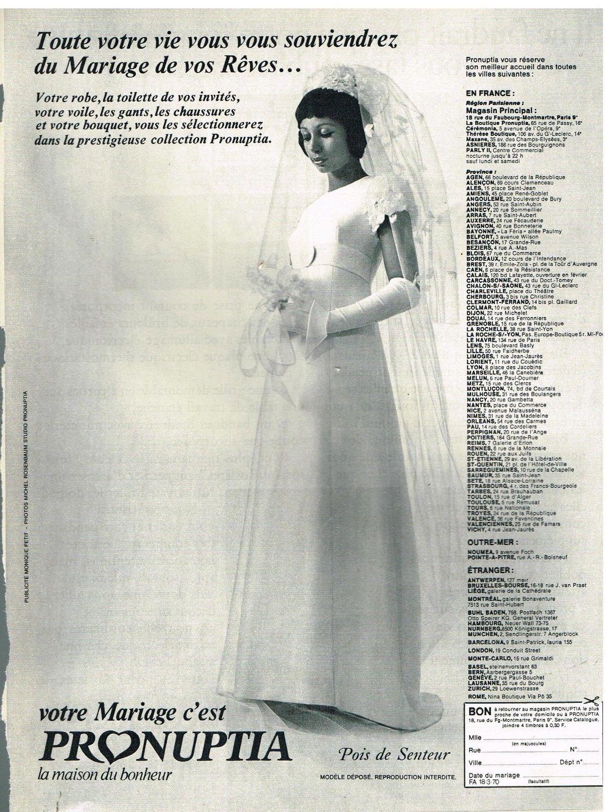 Publicité Advertising 1970 Les Robes de mariée Pronuptia