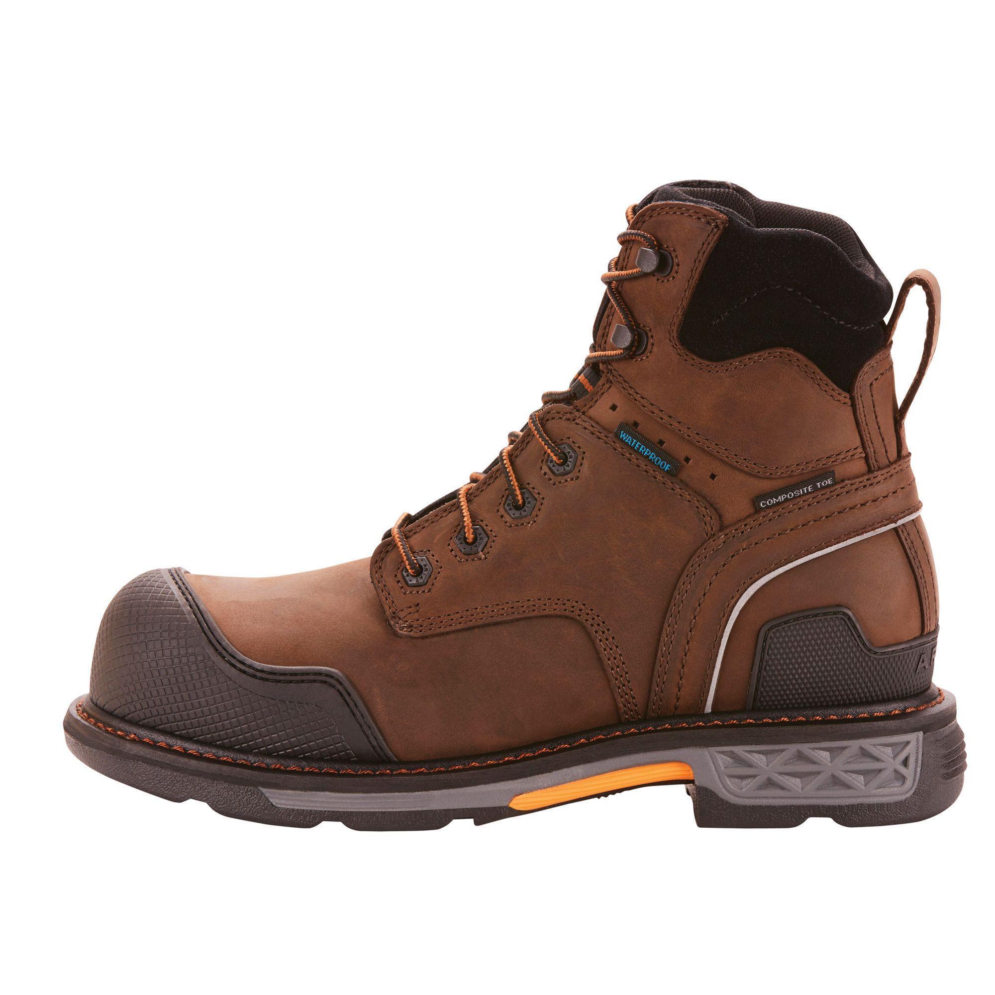 Overdrive Xtr 6 Waterproof Composite Toe Work Boot Composite Toe Work Boots Brown Leather Leather