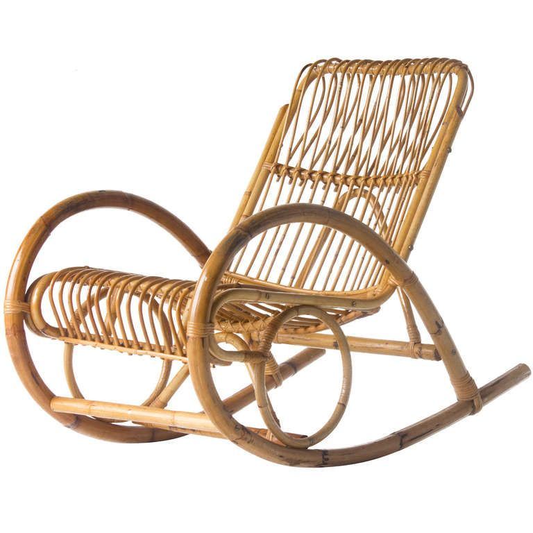 Franco Albini Style Wicker Rocking Chair | From a unique collection of  antique and modern rocking - Franco Albini Style Wicker Rocking Chair From A Unique