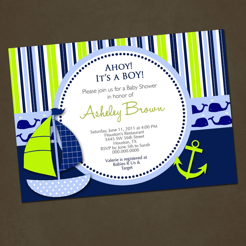 nautocal baby shower invitations | Nautical Blue Green Sailboat Baby ...