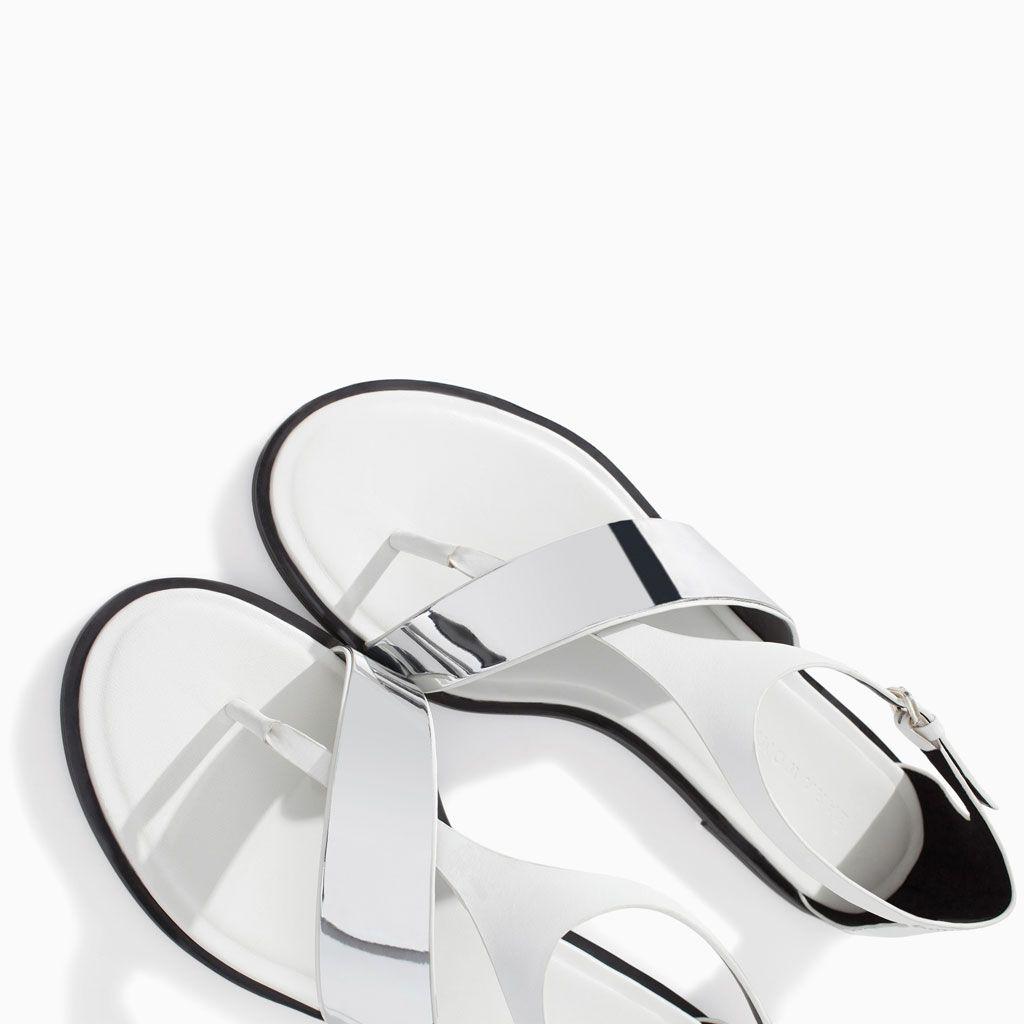 f2cc2452b Metallic flat Leather sandal from Zara