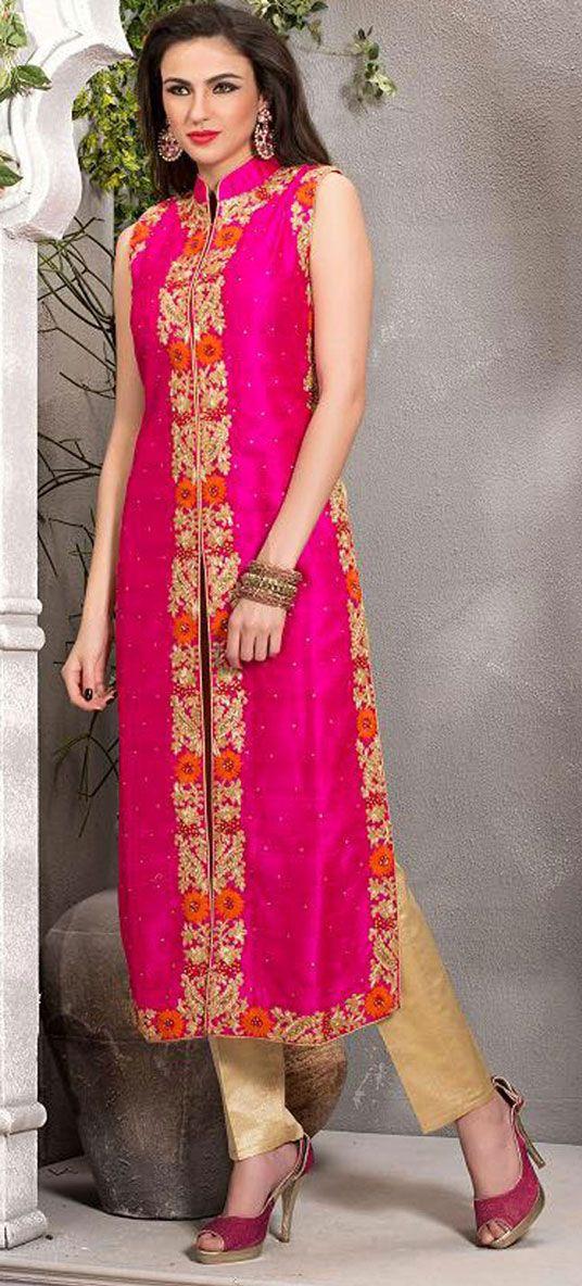 Pink Art Raw Silk Designer Salwar Kameez 43112   سمر   Pinterest ...