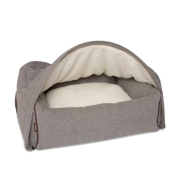 Cave Dog Bed (Grey Flannel) Kona Cave Hundebetten sind nicht nur kuschelig für ihren Hund, sondern auch stylish und passen in jedes Wohnzimmer. Cave Dog bed, grey flannel with leather trim - stylish and sophisticated.