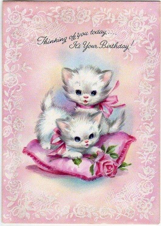 Sweet Vintage Kittens Birthday Card