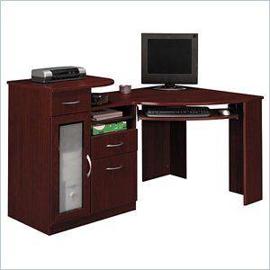Bush Vantage Wood Corner Computer Desk in Harvest Cherry