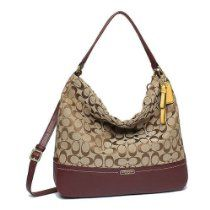 Coach 23279 Khaki   Burgundy Park Signature Hobo Shoulder Bag From Coach  List Price   358.00 OUR Price   218.00 aa4e0550870c3