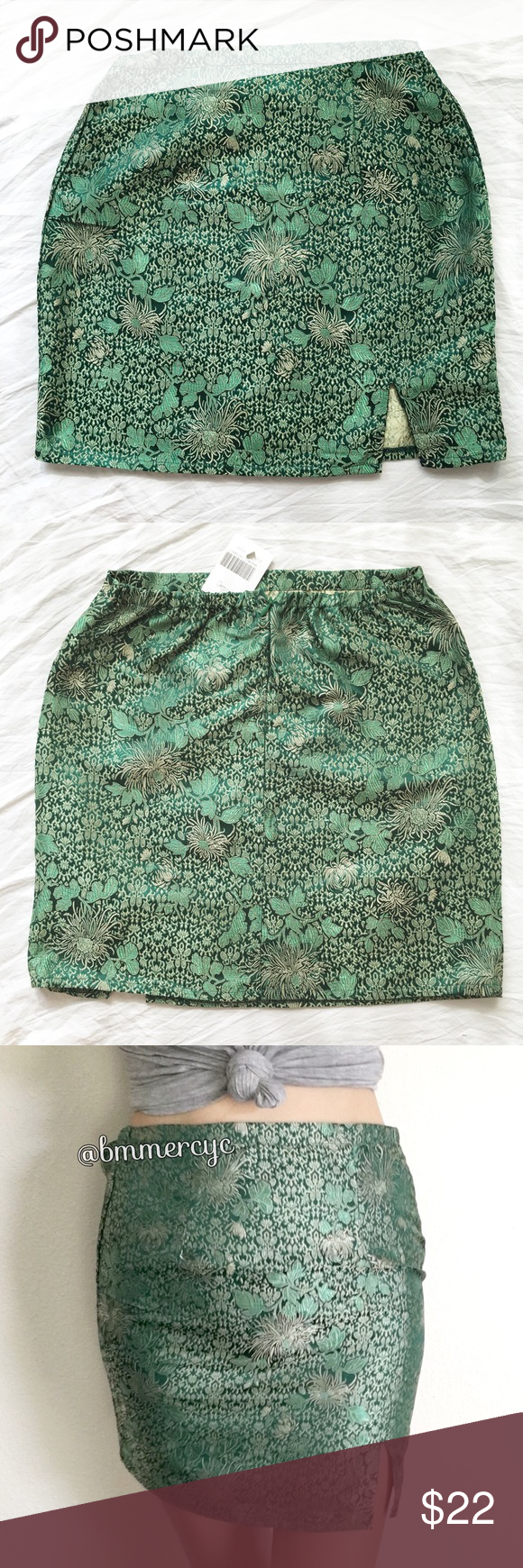 "BNWT green Chinese silky Moss skirt Size: xs/s/24/25 15"" length, 17.5"" hip, 11.5"" waist (stretchy)  Silky Chinese floral print skirt in green and gold with an elasticized waist, hidden zipper opening in the back and a front slit. Retail at $26  ❌ Lowballers will be blocked 👋🏻 Brandy Melville Skirts Mini"