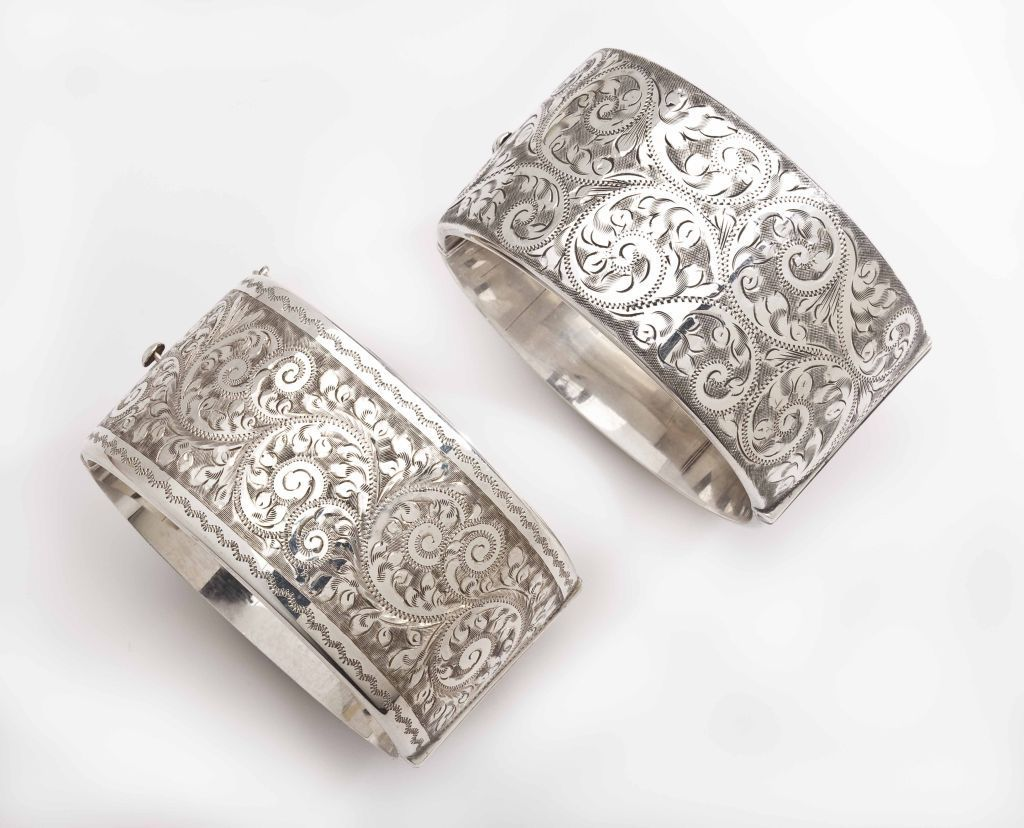 A Pair Of Victorian Floral Engraved Silver Cuffs