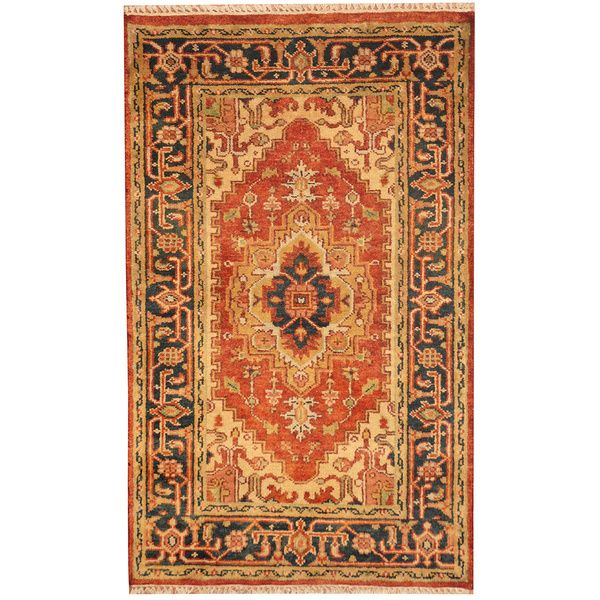 Herat Oriental Indo Hand Knotted Heriz Red Navy Wool Rug 3 X