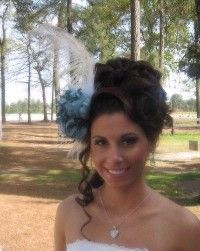 Hair and hair piece.  Could make a clip with the feather and flower both attached