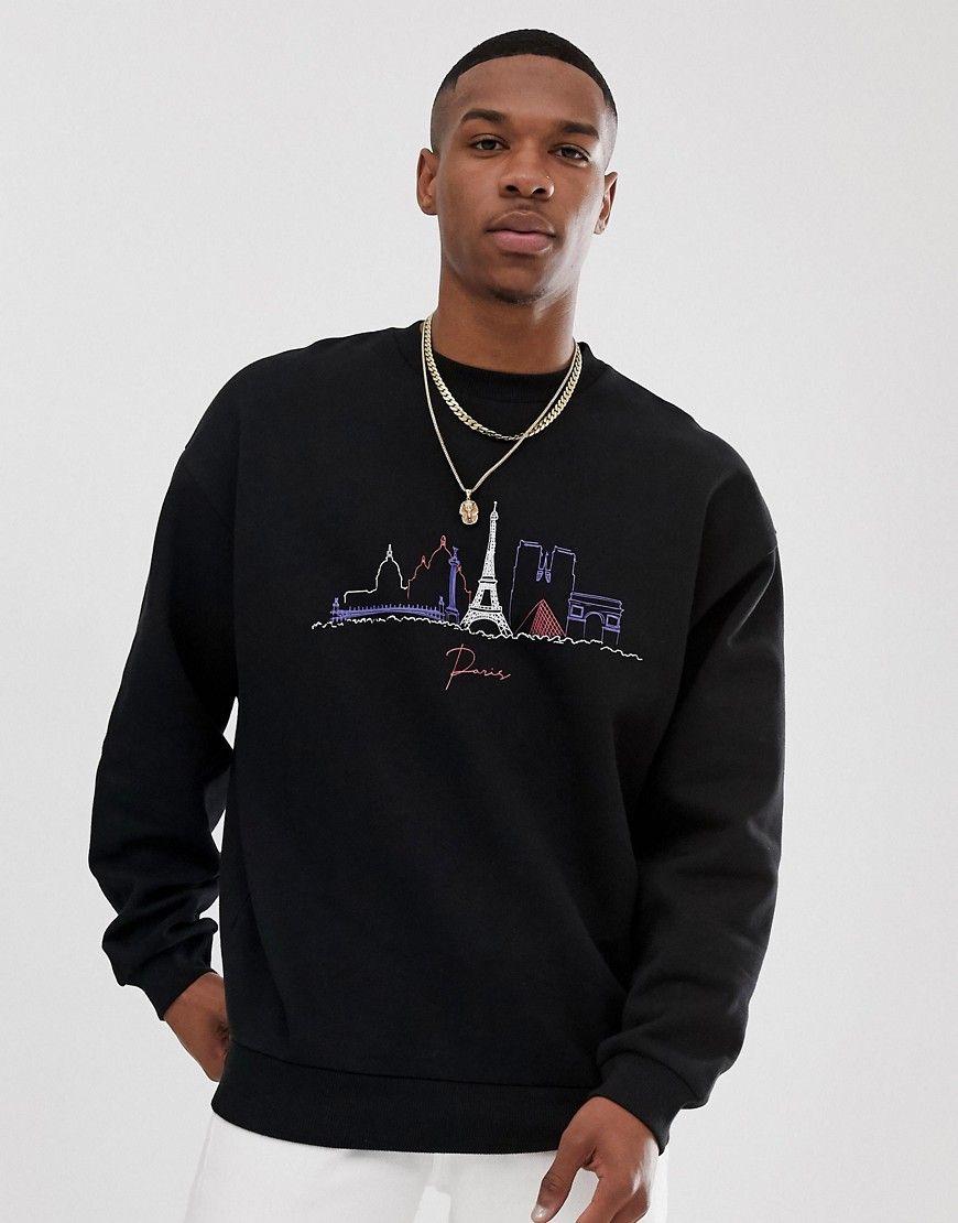 Asos Design Oversized Sweatshirt With City Scape Print Black Asosdesign Cloth Mens Sweatshirts Hoodie Oversized Sweatshirt Sweatshirts [ 1110 x 870 Pixel ]