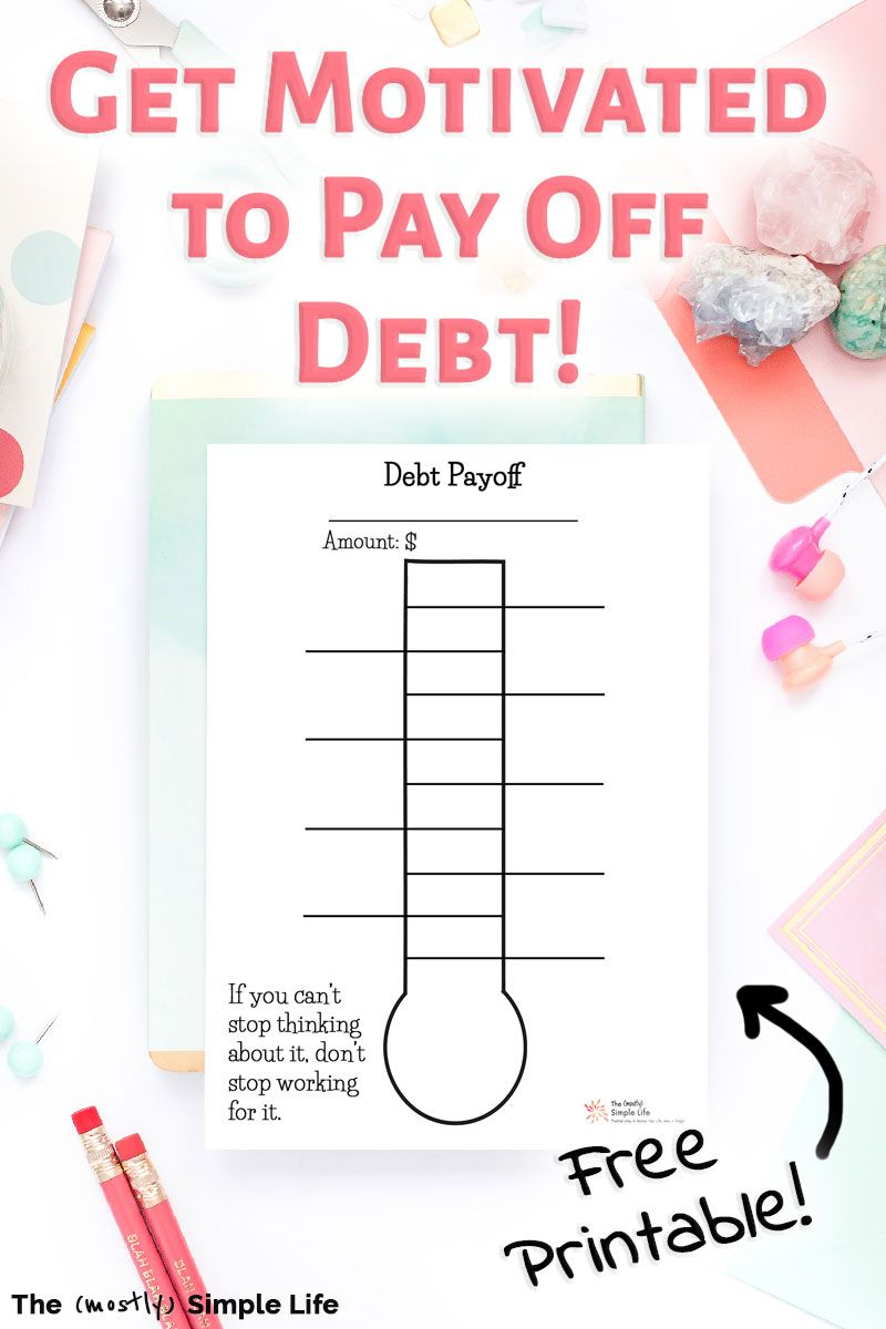 Track Your Progress with a Debt Free Thermometer Free debt payoff printables! These thermometer worksheets are a fun visual way to track your personal finance goals! Really great tips and strategies to keep your motivation. If you're doing a debt snowball a la Dave Ramsey, you'll love these!