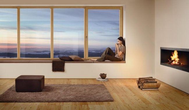 Moderne fenster innen  Fenster und Türen von Josko fenstersitzbank holz rahmen komfort ...